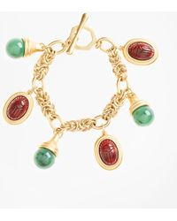 Brooks Brothers - Poppy Jasper Scarab Charm Bracelet - Lyst