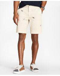 Brooks Brothers - Embroidered Dog Cotton-twill Shorts - Lyst
