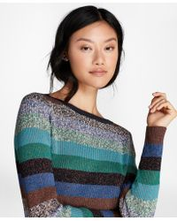 Brooks Brothers | Shimmer-stripe Rib-knit Sweater | Lyst