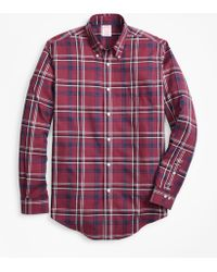 Brooks Brothers - Non-iron Madison Fit Burgundy-navy Plaid Sport Shirt - Lyst
