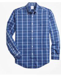 Brooks Brothers - Non-iron Regent Fit Blue Plaid Sport Shirt - Lyst