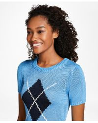 Brooks Brothers - Short-sleeve Argyle Sweater - Lyst