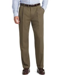 Brooks Brothers - Madison Fit Pleat-front Unfinished Gabardine Trousers - Lyst