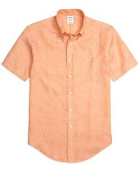 Brooks Brothers - Madison Fit Linen Short-sleeve Sport Shirt - Lyst
