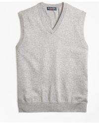 Brooks Brothers - Supima® Cotton V-neck Jumper Vest - Lyst