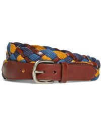 Brooks Brothers - Cotton And Leather Woven Belt - Lyst