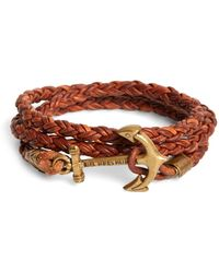 Brooks Brothers - Kiel James Patrick Walnut Leather Rope Bracelet - Lyst