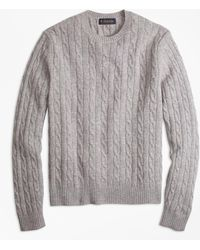Brooks Brothers - Lambswool Cable Crewneck Sweater - Lyst