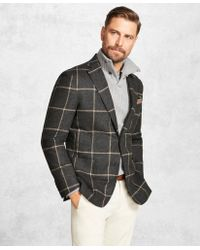 Brooks Brothers - Golden Fleece® Charcoal With Camel Windowpane Sport Coat - Lyst