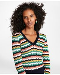 Brooks Brothers - Scalloped Stripe Pointelle Sweater - Lyst