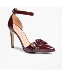 c9fb54c3e9b Lyst - Brooks Brothers Striped Floral-print Leather Block-heel ...