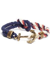 Brooks Brothers - Kiel James Patrick Red Navy And White Triton Bracelet - Lyst