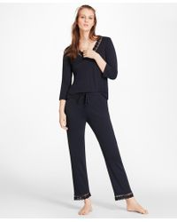Brooks Brothers - Lace-trimmed Pima Cotton Interlock Jersey Pajama Set - Lyst