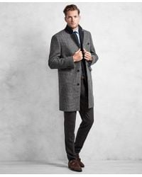Brooks Brothers - Golden Fleece® Black And White Plaid Topcoat - Lyst