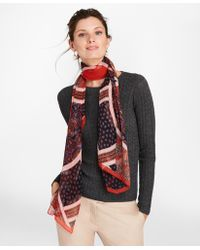 Brooks Brothers - Mixed-print Silk Chiffon Oblong Scarf - Lyst