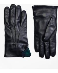 Brooks Brothers - Leather Gloves With Black Watch Cuffs - Lyst