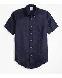 Brooks Brothers - Regent Fit Irish Linen Short-sleeve Sport Shirt - Lyst