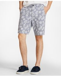 Brooks Brothers - Tropical Print Cotton Twill Shorts - Lyst