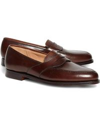 Brooks Brothers - Peal & Co.® Dark Brown French Pebble Leather Saddle Strap Penny Loafers - Lyst