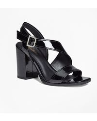afea5c43dfc34 Brooks Brothers - Patent Leather Open-toe Stacked Sandals - Lyst
