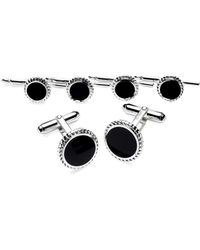 Brooks Brothers | Silver/onyx With Braid Cuff Links | Lyst