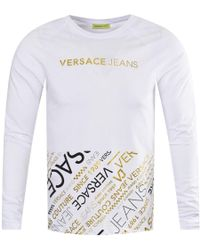5a85ceb9 Versace Jeans Long Sleeve Vertical Logo T-shirt in White for Men - Lyst