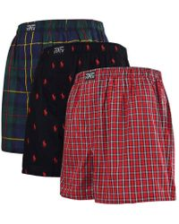 Polo Ralph Lauren - 3 Pack Woven Boxers In Red Check/oxford Check/black All Over Player Print - Lyst