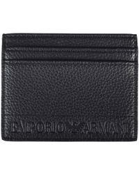 Emporio Armani - Black Grained Leather Card Holder - Lyst