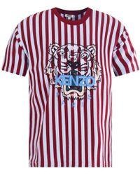KENZO - Blue/burgundy Stripe Tiger T-shirt - Lyst