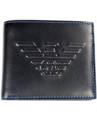 Emporio Armani - Black Embossed Logo Wallet - Lyst
