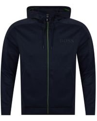 BOSS Athleisure - Navy/green Trim Logo Zip Up Hoodie - Lyst