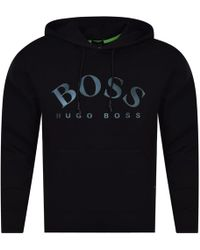 BOSS Athleisure - Black Hooded Logo Sweatshirt - Lyst