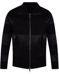 AMI - Ami Black Wool Stripe Bomber Jacket - Lyst