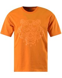 KENZO - Orange Neon Tiger Logo T-Shirt - Lyst