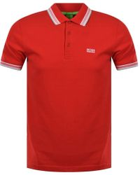 BOSS Athleisure - Red 'paddy' Button Polo Shirt - Lyst