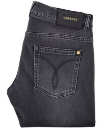 Versace - Washed Black Denim Jeans - Lyst