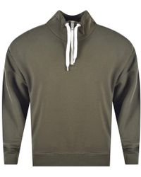BOSS by Hugo Boss - Dark Green Quarter Zip Pullover Sweat - Lyst