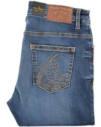 Vivienne Westwood - Blue Stitched Orb Skinny Jeans - Lyst