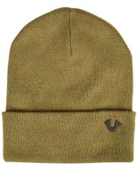 True Religion - Military Green Beanie Hat - Lyst