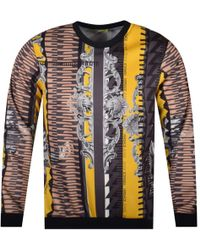 Versace Jeans - Black/yellow Multi Print Sweatshirt - Lyst