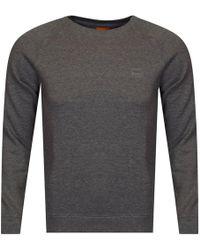 BOSS Orange - Light Grey Logo Sweatshirt - Lyst