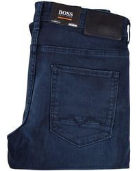 BOSS Orange | Navy Tapered Fit Jeans | Lyst