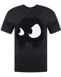 McQ - Black Felt Flocked Monster T-shirt - Lyst