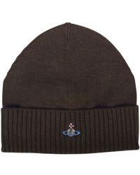 Vivienne Westwood - Khaki Orb Logo Beanie Hat - Lyst