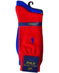 Polo Ralph Lauren - Blue/red Cotton Socks - Lyst