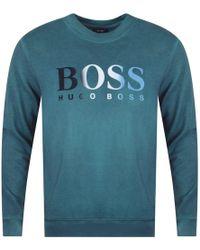 BOSS by Hugo Boss - Open Green Felt Logo Sweatshirt - Lyst
