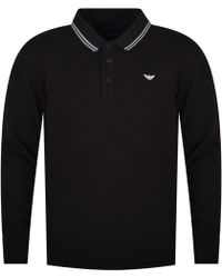 Emporio Armani - Black Logo Print Long Sleeve Polo Shirt - Lyst