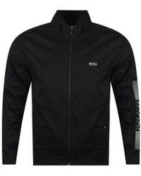 BOSS - Athleisure Black Zip Up Slim Fit Track Top - Lyst