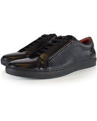 HUGO - Post Tenn Black Textured Leather Trainers - Lyst
