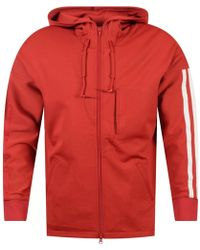 Y-3 - Red Zip Up Stripe Detailing Hoodie - Lyst